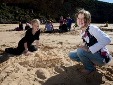 Building sandcastles on Princetown beach