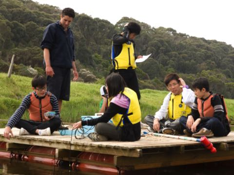 Water quality testing from a raft on the Gellibrand River